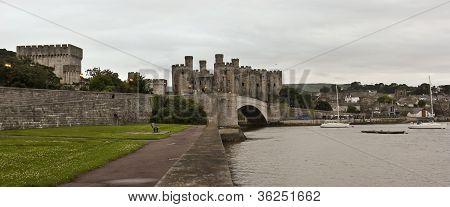 An Evening Bridge To Conwy Castle Shot