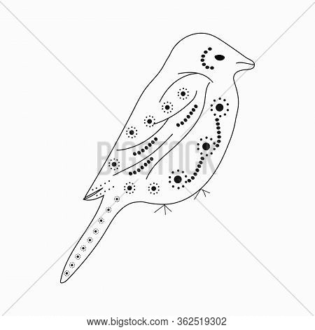 Cute Sparrow With A Pattern Of Circles For Coloring Executed With A Brush With A Black Outline