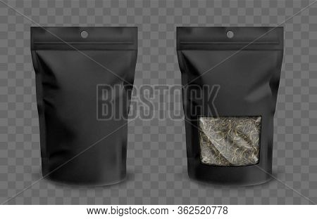 Foil Pouch With Zipper And Clear Window, Doypack For Food. Blank Stand Up Plastic Bags With Green Te