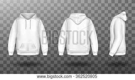 Hoody, White Sweatshirt Mock Up Front Side Back View Set. Isolated Hoodie With Long Sleeves, Kangaro