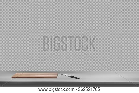 Cutting Board And Knife On Steel Table Surface Front View Isolated On Transparent Background. Kitche