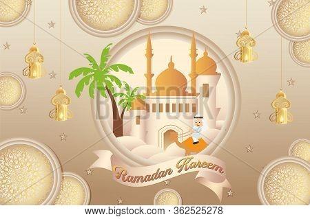 Illustration Of Ramadan Kareem And Ramazan Mubarak With Colorful Desert And Mosque Element
