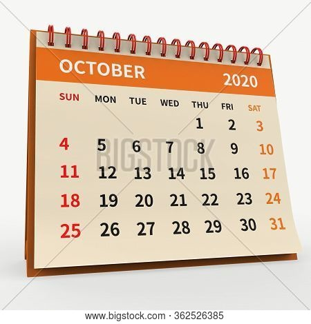 Standing Desk Calendar October 2020. Business Monthly Calendar With Red Spiral Bound, Week Starts On
