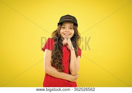 Must Have Street Style Accessory Trends. Modern Fashion. Kids Fashion. Girl Cute Child Wear Cap Or S