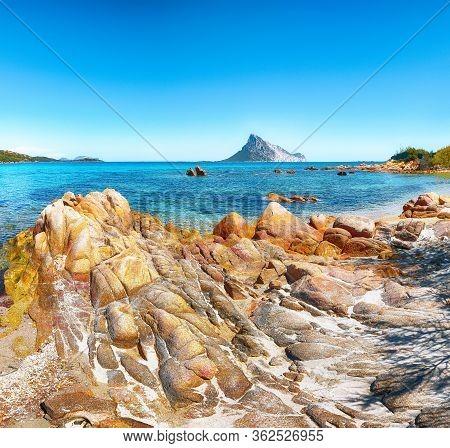 Fantastic Azure Water With Rocks Near Beach Porto Taverna.  Location: Loiri Porto San Paolo, Olbia T