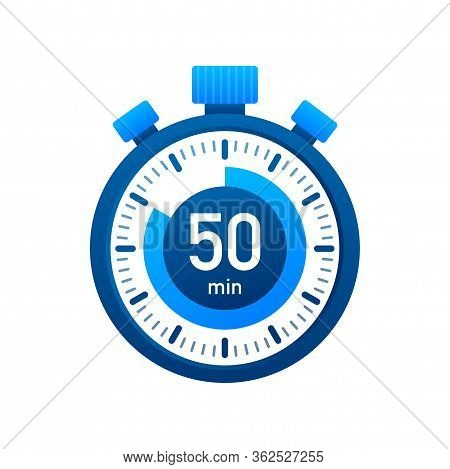 The 50 Minutes, Stopwatch Vector Icon. Stopwatch Icon In Flat Style, Timer On On Color Background. V