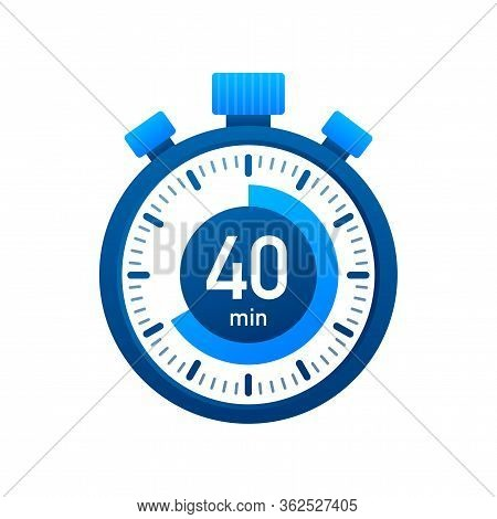 The 40 Minutes, Stopwatch Vector Icon. Stopwatch Icon In Flat Style, Timer On On Color Background. V