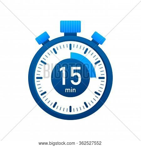 The 15 Minutes, Stopwatch Vector Icon. Stopwatch Icon In Flat Style, Timer On On Color Background. V
