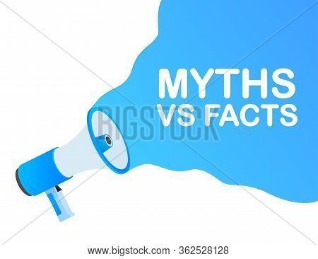 Myths Vs Facts. Icon On White Backdrop. Versus Vs Background. Vector Icon. White Background.