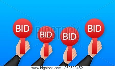 Business Concept. Bid, Great Design For Any Purposes. Auction Competition. Hand Icon. Vector Stock I