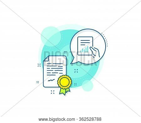Analysis Chart Or Sales Growth Sign. Certification Complex Icon. Hold Report Document Line Icon. Sta