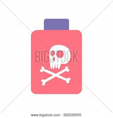 Bottle Of Poison Or Poisonous Chemical Toxin With Crossbones Label. Vector Illustration.