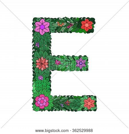The Letter E - Bright Element Of The Colorful Floral Alphabet On A White Background. Made From Flowe