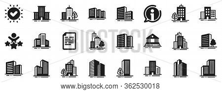 Bank, Hotel, Courthouse. Buildings Icons. City, Real Estate, Architecture Buildings Icons. Hospital,