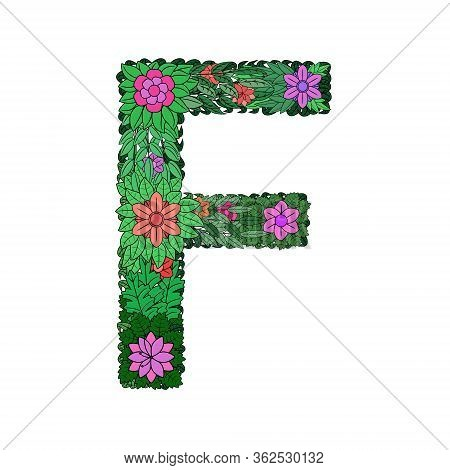 The Letter F - Bright Element Of The Colorful Floral Alphabet On A White Background. Made From Flowe