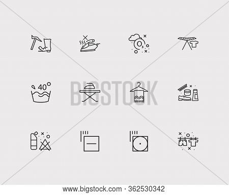 Laundry Icons Set. Caution And Laundry Icons With Shoe Cleaning Products, Label And Ozonation. Set O