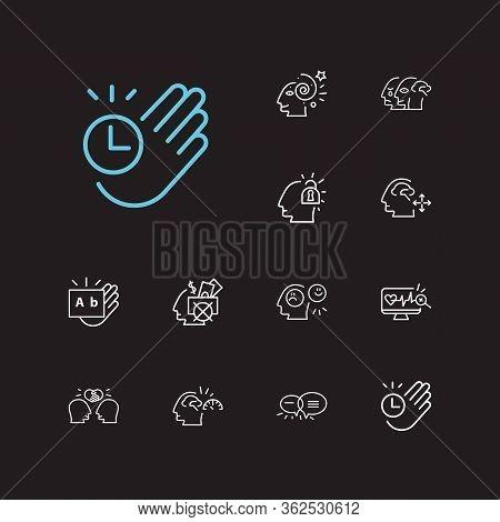 Anatomy Icons Set. Health Monitoring And Anatomy Icons With Unlocking Mind, Emotional Intelligence A