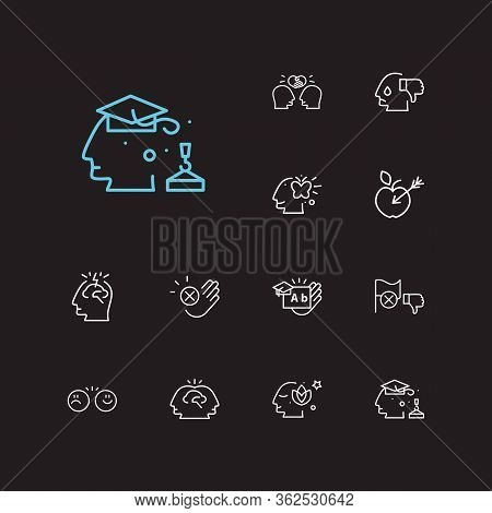 Anatomy Icons Set. Collective Mind And Anatomy Icons With Target, Decline And Friendship. Set Of Fac