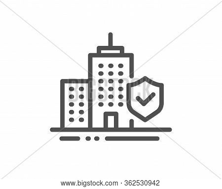Apartment Insurance Hand Line Icon. Risk Coverage Sign. Building Protection Symbol. Quality Design E