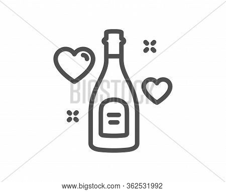 Love Champagne Line Icon. Wedding Drink Sign. Couple Relationships Symbol. Quality Design Element. E