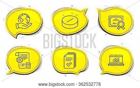 Online Statistics Sign. Diploma Certificate, Save Planet Chat Bubbles. Handout, Settings Blueprint A
