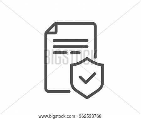 Insurance Policy Line Icon. Risk Coverage Document Sign. Policyholder Symbol. Quality Design Element