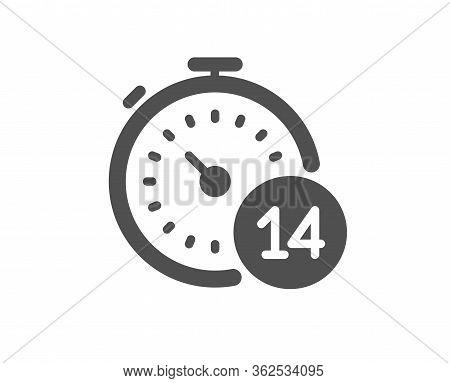 Quarantine Timer Icon. Coronavirus Incubation Period Sign. Self-isolation Symbol. Classic Flat Style