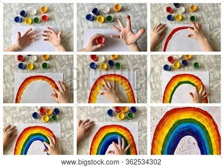 Collage Step By Step. . Childrens Drawing With Paints And Fingers, Drawing Rainbow. Childrens Creati