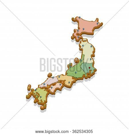 Isometric 3d Map Of The Japan. Isolated Political Country Map In Perspective With Administrative Div