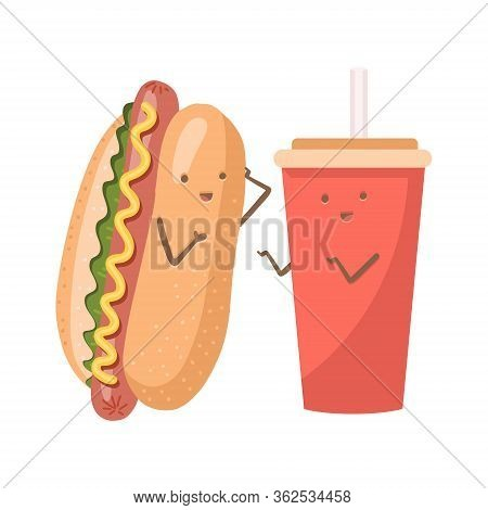 Cute Funny Smiling Happy Hot Dog And Soda Water Cup. Isolated On White Background. Fast Food, Cafe K