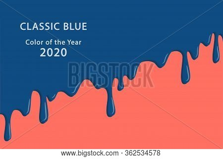 Classic Blue Color Of The Year 2020. Classic Blue And Living Color Swatch. Fashion Color Trend Palet