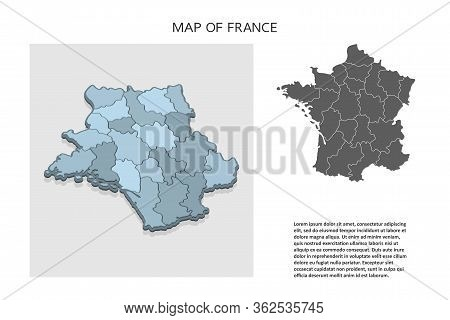 Isometric 3d Map Of France. Political Country Map In Perspective With Administrative Divisions And P