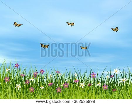Monarch Butterflies Flying Upon A Meadow By Day - 3d Render