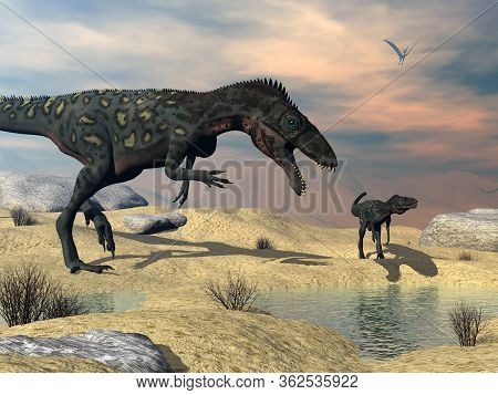 Two Masiakasaurus Knopfleri Dinosaurs Looking For Water In The Desert - 3d Render