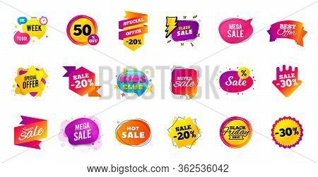 Sale Offer Banner. Discounts Price Tags. Coupon Promotion Templates. Black Friday Shopping Icons. Cy