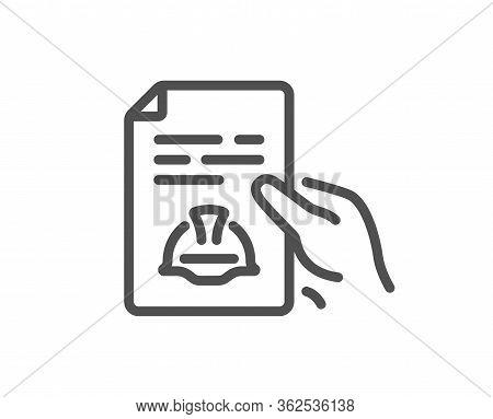 Engineering Line Icon. Technical Documentation Sign. Construction Helmet Symbol. Quality Design Elem