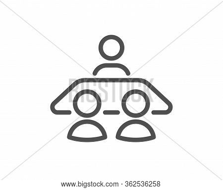 Interview Job Line Icon. Business Management Sign. Human Resources Symbol. Quality Design Element. E