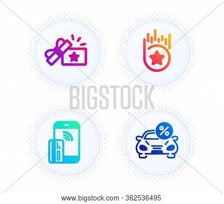 Loyalty Gift, Loyalty Star And Contactless Payment Icons Simple Set. Button With Halftone Dots. Car
