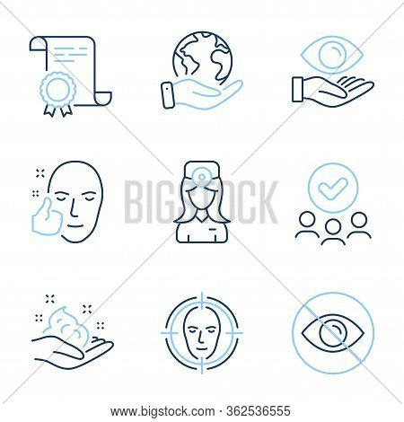 Health Eye, Not Looking And Oculist Doctor Line Icons Set. Diploma Certificate, Save Planet, Group O