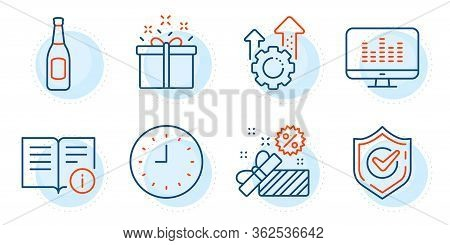 Clock, Music Making And Sale Signs. Seo Gear, Beer And Technical Info Line Icons Set. Special Offer,