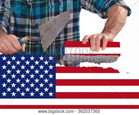 Rebuild United states of America flag brick wall and country after the crisis concept