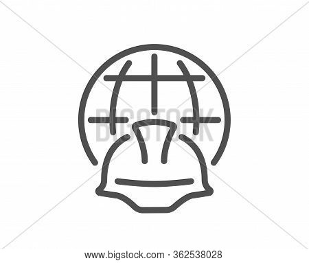 Global Engineering Line Icon. Engineer Or Architect Helmet Sign. World Construction Symbol. Quality