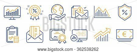 Set Of Finance Icons, Such As Euro Currency, Accounting Report. Certificate, Save Planet. Credit Car