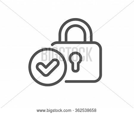 Verified Locker Line Icon. Approved Protection Lock Sign. Confirmed Security Symbol. Quality Design