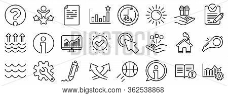 Customisation, Global Warming, Question Mark Icons. Waves, Sun, Efficacy Line Icons. Signature Rfp,