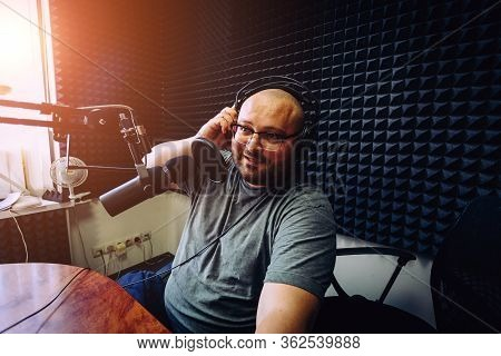Talking Male Radio Presenter In Radio Station