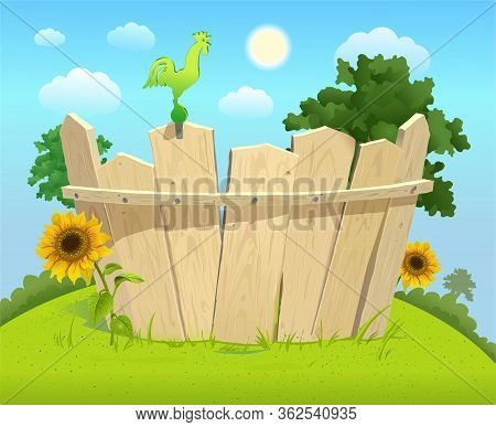 Wooden Fence With Sunflowers On A Green Lawn And Blue Sky With Clouds On A Sunny Day. Sitting Rooste