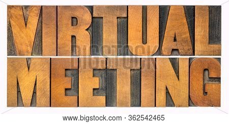 virtual meeting - isolated word abstract in vintage letterpress wood type, networking and telecommunication concept