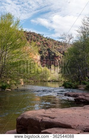 View Of Red Rocks Along Oak Creek Near Sedona, Arizona