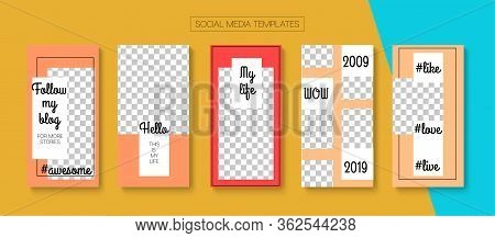 Modern Stories Vector Background. Simple Sale, New Arrivals Story Layout. Blogger Hipster Border, So